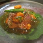日本料理 太月 - 29年7月 塩水雲丹、ノドグロ炙り、賀茂茄子、目葱、ミニオクラ ポン酢ジュレ掛け
