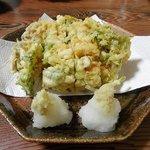 魚ざん - 桜エビと水菜のかき揚げ