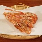 粗挽き蕎麦 トキ - 川海老の素揚げ