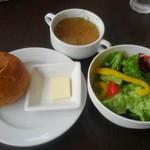 73236362 - セットのスープ・サラダ・パン