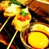 遊庵 - 料理写真:つくね3種 卵黄をたっぷりつけて濃厚♡