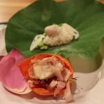 73250186 - 先付け 小芋・蓮根・枝豆の飯蒸し 蛸の子土佐煮