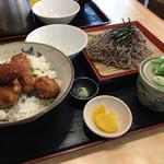 わだ泉 - 醤油カツ丼 1000円 + ご飯大盛り 200円 + ざるそば変更150円