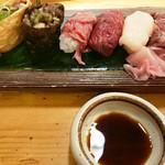 73275042 - 肉寿司盛り合せ 6貫