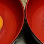コッコきみまろ - 左:スーパーのお安い卵 右:房総の地鶏の卵