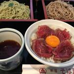 新宿 そば蔵 - 二色そばとハーフステーキ丼のセット