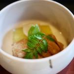 瓢亭 - 冬瓜と穴子の炊合