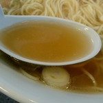 中華そば 来味 - 琥珀色の濁りのない澄んだスープ。かなり煮干しが効いていますね。