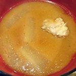 魚河岸 魚◯本店 - 魚河岸 魚〇本店 @有楽町 刺身定食に付くアラの出汁が効いた根菜の味噌汁