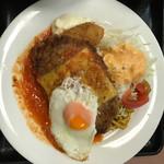 ランチハウス ミトヤ - チーズハンバーグ&カニコロッケ&目玉焼('17/09/18)