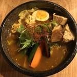 サッポロ スープカレー 浅野屋 - チキン野菜スープカレー980円辛さ15番、トッピング豚角煮です。