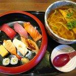 がんこ - 寿司定食[花]うどん付き