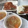 ミート工房 - 料理写真:野菜スープ・山賊カレー・ライブの山賊焼
