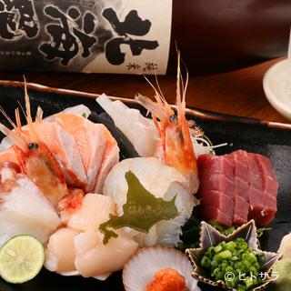 北海道の新鮮な海の幸が目白押し。厳選仕入れの旬の味を堪能あれ