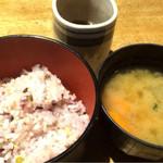 炭火焼鳥 鳥料理 IPPO - 雑穀米&野菜たっぷり味噌汁