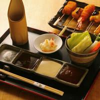 串たなか - 料理写真:こだわり塩・ぽん酢・マヨネーズ・自家製ソース、サラダは食べ放題