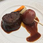 73379313 - バル街メニュー                       エゾ鹿肉の赤ワイン煮込みと北海道産野菜