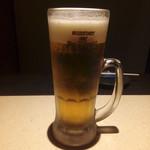 水炊き 焼鳥 とりいちず - プレミアムモルツ(メガジョッキ) 369円+税