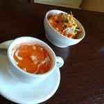 ディア ディア - インドランチのサラダとスープ