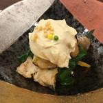 73396498 - 穴子といちじくとつるむらさきに豆腐ソース