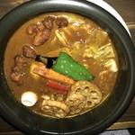 スープカリーバグース - スパイシーチキンと豚しゃぶカレー(トマトスープ)