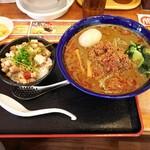 中華飯店 幡龍 - 料理写真:黒ごま担々麺+特製味玉+ミニチャーシュー丼