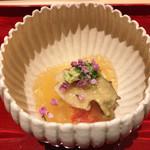73411129 - 鮑、ごま豆腐、ブルターニュの海老、すっぽんの煮こごり