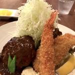 洋食ますだ - ハンバーグ・エビフライ・魚フライ、綺麗な瑞々しいキャベツはてんこ盛り!(2017.9.20)