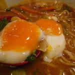 屋台ラーメン丸徳 - ☆温泉卵の黄身濃いめですね♪☆