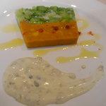 7343608 - 帆立貝柱とかぼちゃ、ブロッコリーのお菓子仕立て