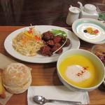 ガーデンカフェ 日日 - 鶏の三色フライ