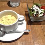 肉が旨いカフェ NICKSTOCK - サラダ・スープセット