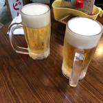 大衆串揚酒場 足立屋 - 2017年09月19日  千ベロ 生ビール 中(オリオンビール)