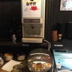 珈琲 豆三郎 - 味噌汁、ご飯、漬物