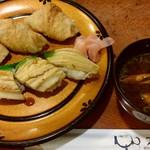 乙羽 - 穴子寿司3巻といなり寿司3個です♪