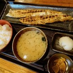 越後屋喜八郎 - サーモンハラス干し定食
