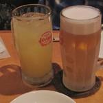 酒楽 灯る小 - ドリンク写真:スーパードライ450円、シーハイ400円