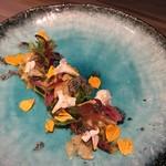 代官山 RINGRAZIARE KOJI MORITA - 北海道産真つぶ貝のマリネ、沖縄産パッションフルーツのソース
