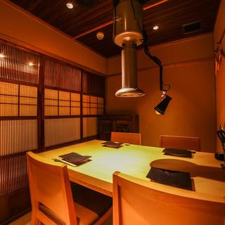 落ち着いた完全個室は接待や会食に最適です