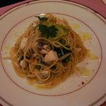 オステリア ガウダンテ - 真鯛と春野菜のペペロンチーノ からすみ添え
