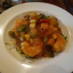 中国食堂261 - パプアニューギニア海産エビのチリソース、野菜入り