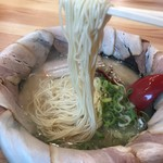 ラーメン獅子〇 - 麺は極細ストレート(2017.9.22)