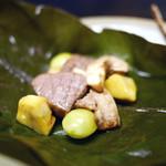 山玄茶 - 和牛ミスジと松茸、銀杏、和栗の大葉蒸し