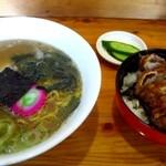 福よし - 料理写真:ラーメン+半カツセット1100円