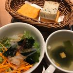カフェプロフーモ - 選べるパスタランチ850円のスープ・サラダ・パン