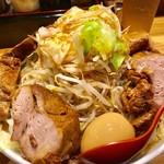 73554148 - 特性野菜らぁめん(漢盛り×3)+特性野菜らぁめん用豚+ゆで野菜【料理】