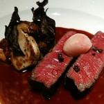 銀座 レカン - 短角牛フィレ肉のソテー 赤ワインソース ラッパ茸 セップ茸 ジロール茸