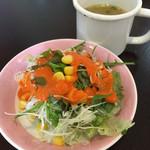 インドカレー ハルカ - セットのサラダ&スープ