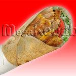 メガ ケバブ - ロールケバブ(チキン)あつあつケバブを薄いパン生地で巻いています