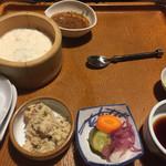 73606777 - 胡麻醤油、竹豆腐、おから、漬物、アワビの刺身用の醤油、わさび